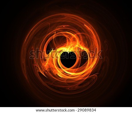 Abstract clip art illustration of flames on black background - stock photo