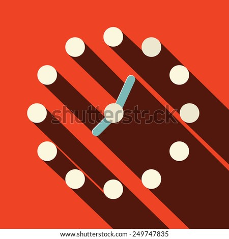 Abstract Clock Illustration on Red Background - stock photo