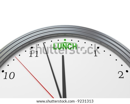 Abstract clock shows lunch time.