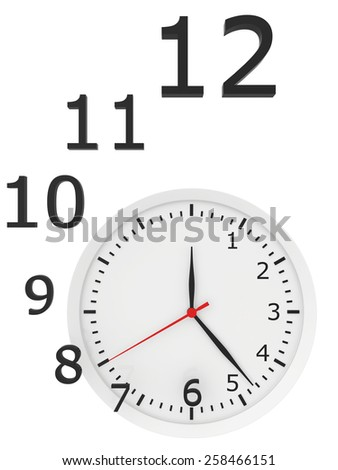 abstract clock with arrows and numbers. 3d rendering - stock photo