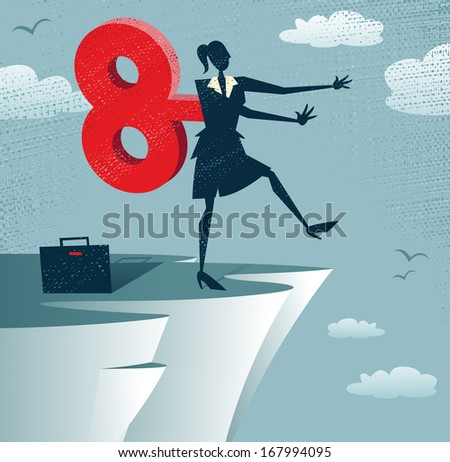 Abstract Clockwork Businesswoman walks off a cliff. Great illustration of Retro styled Businesswoman walks off a cliff because she is wound up like a toy robot with a huge clockwork key. - stock photo