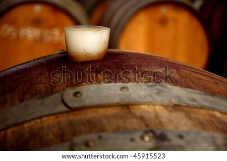 Abstract close up of plug in old wine barrel - stock photo