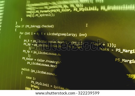 Abstract closeup bits computer program digital computer abstract screen data center matrix byte background programming . Shallow DOF, selective focus effect. Code text written and created by myself - stock photo