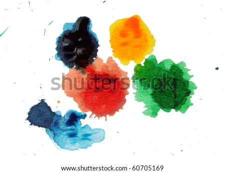 Abstract closeup photograph of colorful ink and paint splotches, splatters, dabs, dribbles, and splatters isolated on a white background. - stock photo