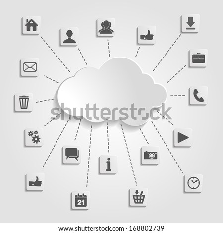 Abstract cloud computing with social networks icons on a gray background - stock photo