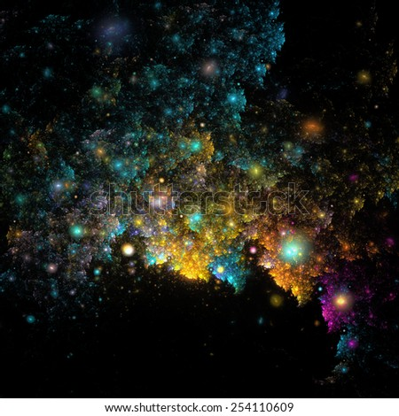 Abstract cloud like colorful fractal shapes in night with spot lights - stock photo
