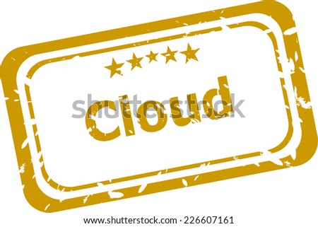 abstract cloud on red stamp signs, web symbols and icons - stock photo