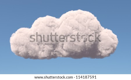 Abstract cloud symbol, isolated on blue