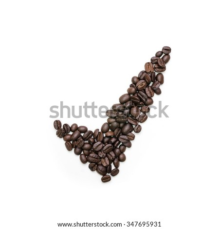 Abstract coffee beans of check mark symbol isolated on white background. - stock photo