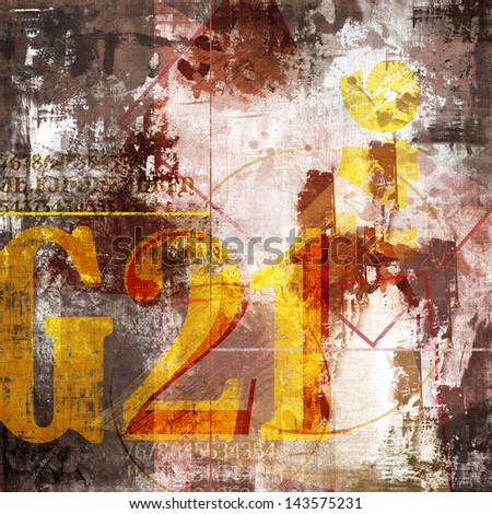 Abstract collage with number composition and damaged background - stock photo