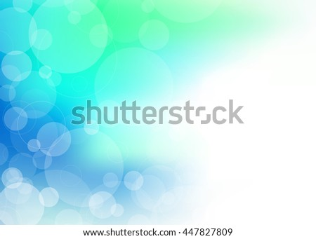 Abstract collection of random size translucent spheres on blue green background for use in healthcare, medical or other businesses for communication arts. - stock photo