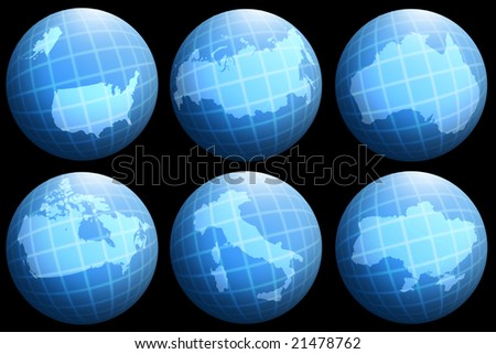 abstract collection with single countries on gloge - stock photo