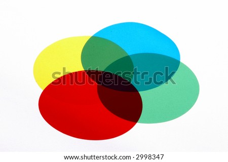 abstract color circle with red, green, cyan and yellow circles on white background
