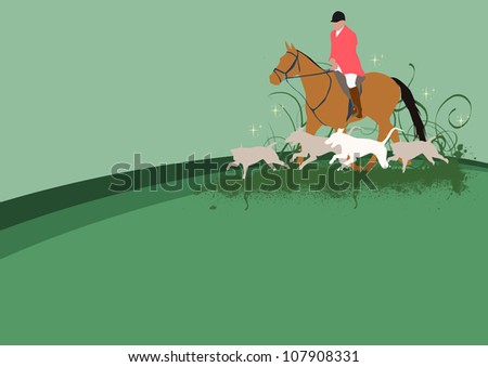 Abstract color hunting with dog and horse background - stock photo