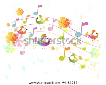 Abstract color music background with birds, illustration - stock photo