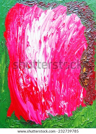 Abstract color painting. Hand-drawn illustration. Oil on canvas. - stock photo
