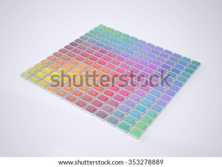 Abstract Color Palette. Abstract Patterns of Color Spectrum. Color Swatches. Rendering in 3D Program  - stock photo