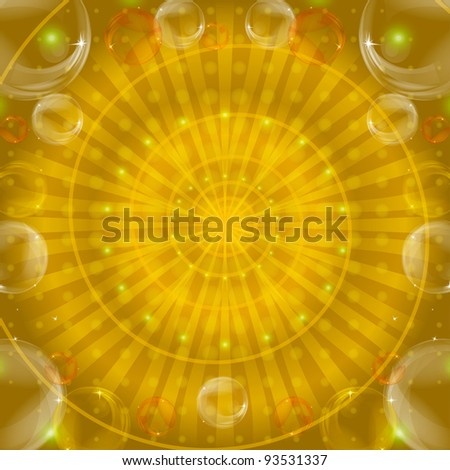 Abstract color pattern, lines and bubbles on yellow background