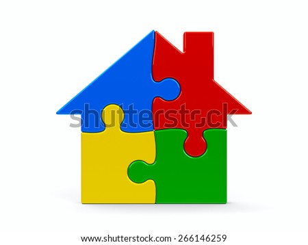 Abstract color puzzle house isolated on a white background, three-dimensional rendering - stock photo