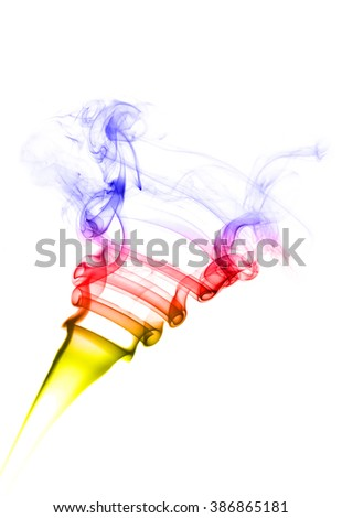 Abstract color smoke flow isolated on white background.