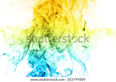 Abstract color smoke on white background, smoke background,blue and orange ink background, blue and orange fire