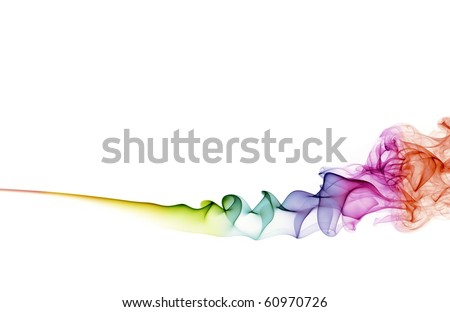 abstract color smoke on white background with copy space - stock photo