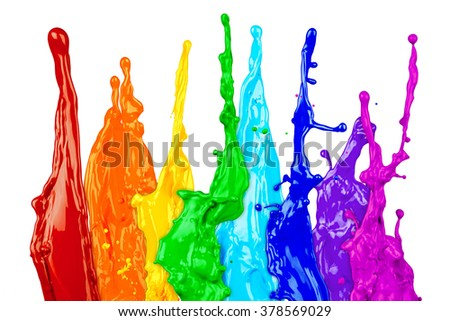 abstract color splash rainbow isolated on white background - stock photo