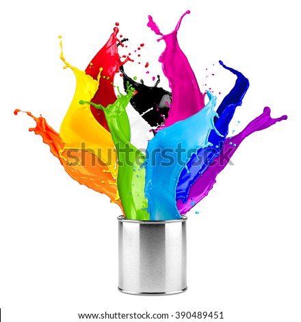 abstract color splash splashes out of can isolated on white background - stock photo