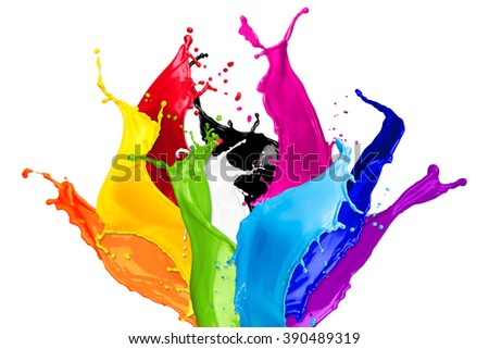 abstract color splashes isolated on white background - stock photo