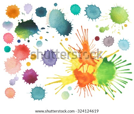 abstract color watercolor blot isolated - stock photo
