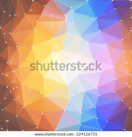 Abstract colored background, triangle design illustration. - stock photo