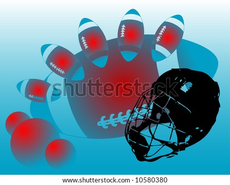 Abstract colored illustration with American football helmet and colored balls - stock photo