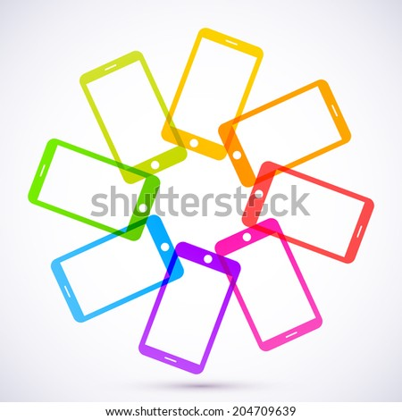 Abstract colored mobile phones. - stock photo