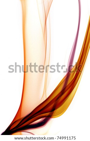 Abstract colored smoke on natural white background
