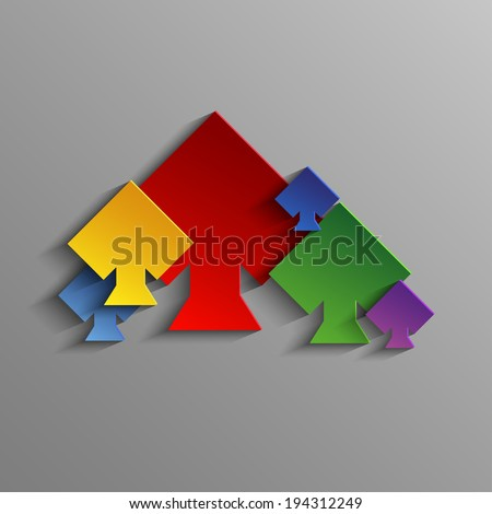Abstract colored Suits of the cards peaks - stock photo