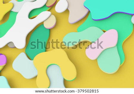 Abstract colorful background. Organic shapes. 3d render - stock photo