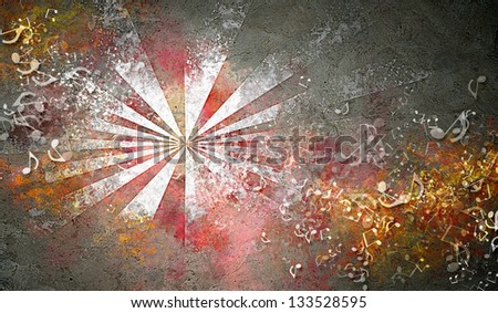 Abstract colorful backgrounds with elements symbolizing music. collage - stock photo