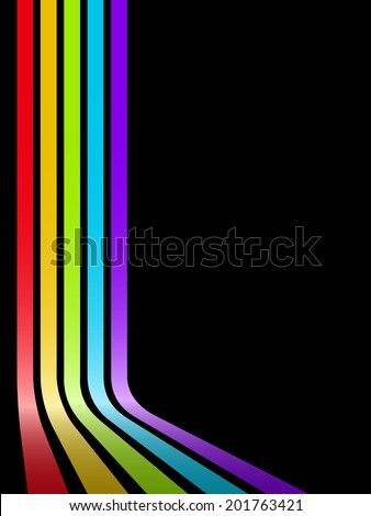 Abstract colorful bent stripes background with black copy space. - stock photo