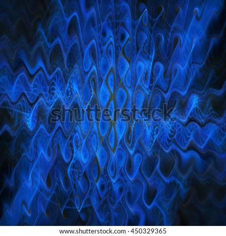 Abstract colorful blue waves on black background. Fantasy fractal design. - stock photo