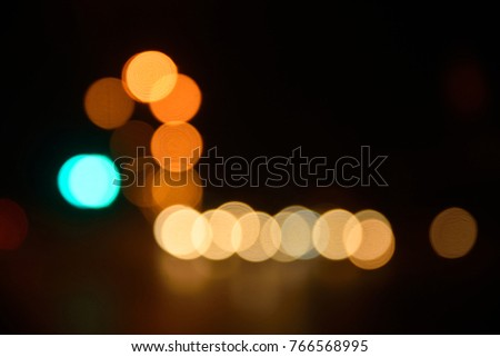 Abstract colorful bokeh background of traffic lights, De focused or blur image