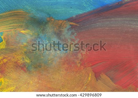 Abstract colorful brush strokes as a background - stock photo