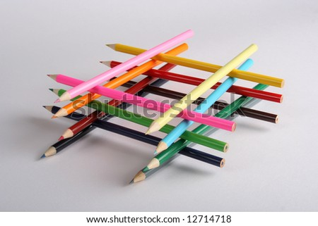 Abstract colorful building of pencils - stock photo