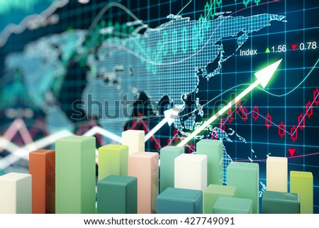 Abstract colorful chart bars on forex graph background. 3D Rendering - stock photo