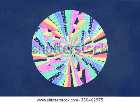 Abstract colorful circle. Curved lines, geometric shapes, dots, zigzag, Color wheel. Bright rainbow contrast multicolor isolated object. Hypnosis, psychedelic. - stock photo