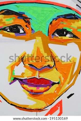 abstract colorful cloth tape (Duct Tape) like a human face - stock photo