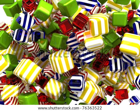 Abstract colorful cubes or candies isolated over white background - stock photo