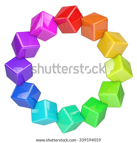 Abstract colorful cubes ring isolated on white background. - stock photo