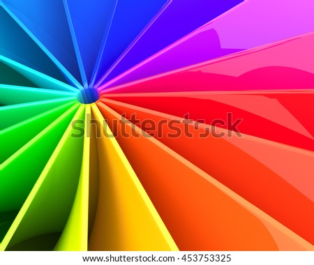 Abstract colorful 3D deformed glossy sheets background. 3D illustration. - stock photo