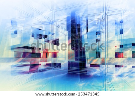 Abstract colorful 3d digital background. Hi-tech concept illustration - stock photo