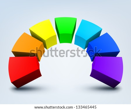 abstract colorful 3d rainbow, logo design - stock photo